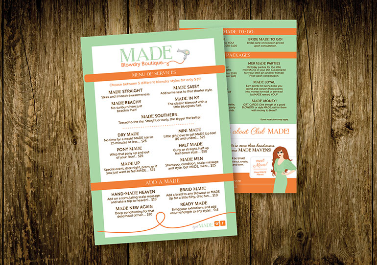 MADE Price Menus